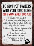 Vintage Style Metal Sign Wall Plaque Non Pet Owner Rules 15X20cm